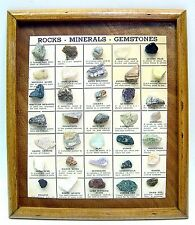 VTG 35 REAL ROCKS MINERALS GEMSTONES COLLECTION WALL DISPLAY BOARD WOODEN FRAME