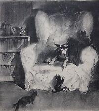 ELEANOR PEROT-Philadelphia Artist-Hand Signed Lim.Ed Litho-Cats, Dog & Interior