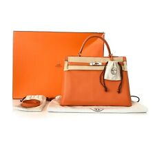 Hermes Orange Clemence Kelly 35 Retourne Bag Handbag Palladium Hardware