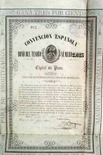 Mexico Mexican 1854 Convencion Española 25 Pesos Coupons UNC Bond Share Loan