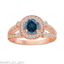 ENHANCED FANCY BLUE & WHITE DIAMOND HALO ENGAGEMENT RING 14K ROSE GOLD 1.54 CT