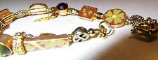 PILGRIM Handmade Floral Badges Plus Charms,Crystals, Beads Gilt Spring ClaspNEW