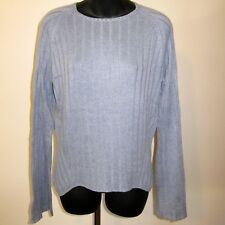 Sz M Cullen Silk Cashmere Crew Neck Blue Ribbed Sweater Raglan Flare Bell Sleeve