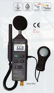 CEM DT-8820 4-in-1 Thermometer Light Lux Humidity Sound Meter Temperature Tester