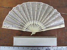Antique Lace Sequins Carved Cow Bone Ladies Folding Hand Fan