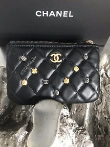 CHANEL Lucky Charms Mini O-Case Black Beauty CC Pouch GOLD Mademoiselle NEW NWT