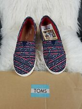 Women's TOMS Vegan Blue Multi Denim Avalon Slip-Ons 8 NIB