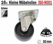 Möbelrollen Tischrollen Lenkrollen 16 x Ø 50mm Polyamid Schwarz ISO-9001 Germany