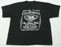 California Black Tee T-Shirt Top Short Sleeve XL Man Cotton Extra Large Crewneck