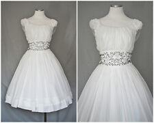 1950s Vintage Beaded Cinched Waist White Chiffon Princess Dress w/Crinoline Med