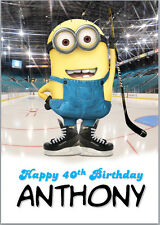 Ice Hockey Minion Birthday Card A5 Personalised own words
