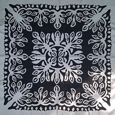 Black & White Hawaiian design wall size Quilt Top - Hand applique