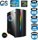 Fast Gaming Computer Pc Intel Core I3 8gb 240gb Ssd Windows 10 2gb Gt710 Led