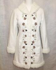 Women's H&M White Suede & Faux Fur Floral Dress Coat Jacket w Snaps EUR Sz 164