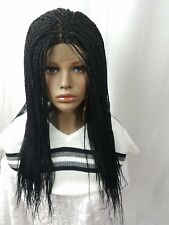 """Womens Hand Made Small Senegalese Braided Wig With Closure 22-24"""" Long Color 1"""