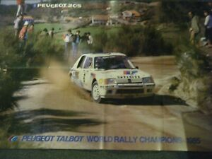 PEUGEOT 205 TURBO 16 T16 RALLY WORLD CHAMPIONS 1985 VERY LARGE POSTER AFFICHE