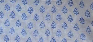 Cotton Fabric Sanganeri Indian 3 Yard Hand Block Print Pure Running New Vintage