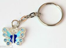 Hand Made Silver Colour Blue Butterfly Keyring KR035