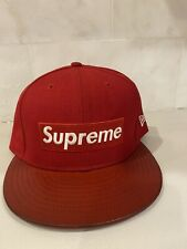 Used Supreme Box Logo Leather Brim New Era Fitted Hat AUTHENTIC sSize 7 1/2