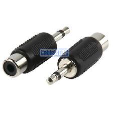 2 x 3.5mm Mono Mini Jack Plug to Phono RCA Female Socket Adapter Converter