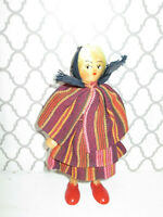 Souvenir Vintage Doll Ethnic Costume International wooden
