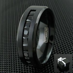 Black Titanium Men's 1.8 Carat Princess Cut Black CZ Brushed Wedding Band Ring