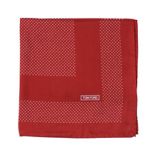 New $180 TOM FORD Red and White Dot Print Silk Pocket Square
