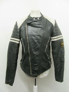 VINTAGE 80's FRENCH DISTRESSED LEATHER PERFECTO MOTORCYCLE JACKET SIZE S