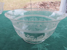 Antique Victorian 1800's Hand Blown & Etched Glass Shade for Parlor Oil Lamp