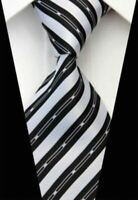 Tie Necktie Black White Striped Classic 100% Silk Jacquard Men's Ties Neckties