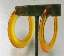 Vintage 60's Huge Chunky Hoop Plastic Lucite Drop Dangle Pierced Earrings Yellow