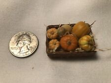 MINIATURES BASKET WITH PUMPKINS IN STRAW ARTIST BARB LEWIS AC