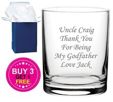Personalised Engraved Whiskey Tumbler Glass Godfather Gift, Retirement Gift