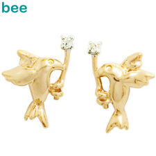 Diamond Peace Dove 9k Solid Yellow Gold Stud Earrings 54990