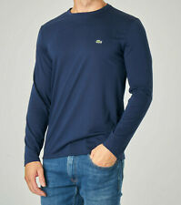 Lacoste Sport Mens Zip Neck T Shirt Solid Long Sleeves Navy Blue Sizes M L