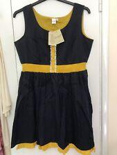 Yo Baby tunic dress top ladies size USXL UK 12/14 blue mustard suntop holiday