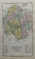 1808 Herefordshire Original Antique Hand Coloured County Map 212 Years Old