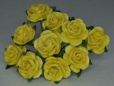 50 PALE LGT YELLOW ROSE (1.5cm) Mulberry Paper Flowers weddings craft cardmaking