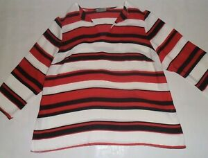Soon Red, Black and White Striped Top Size 18