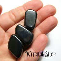 3 BLACK MAGNETIC HEMATITE TUMBLED STONES Wicca Pagan Crystal Healing