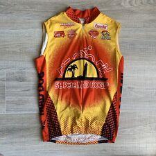 Canari Mens Sz M Red Yellow Sleeveless Cycling Biking Jersey Full Zip Shirt Usa
