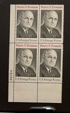 US Stamps, Scott #1499 8c 1973 Plate Block of Harry S Truman XF/S M/NH Fresh