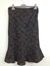 BM - Black Boucle Chambray Ladies Smart Skirt Green/Brown Fleck UK 14 (V363)
