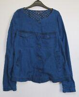 New Laura Ashley Indigo Blue Linen Jacket - Uk Size 8 - 18