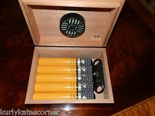 GORGEOUS PIANO FINISHED CHERRY 15 CIGAR TRAVEL HUMIDOR W/ COHIBA ACCESSORIES