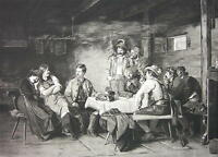CITY BOY Visits Tyrol Pub Girls Knitting Needlework - Victorian Antique Print