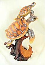 Sea Turtles swimming together wood look sea life figurine