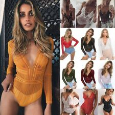Womens Ladies Deep V Neck Sexy Bodysuit Lace Party Backless Leotard Tops Blouse