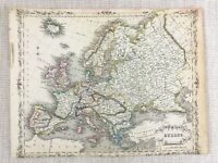 1848 Antique Map of Europe European Old 19th Century Hand Coloured Engraving