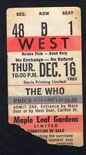 1982 The Who concert ticket stub Maple Leaf Gardens Toronto It's Hard Tour 12/16